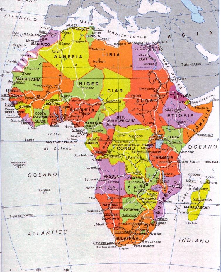 Africa Cartina Geografica Politica.Cartina Muta Dell Africa Politica