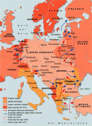 Cartina Geografica Prima Guerra Mondiale.Prima Guerra Mondiale